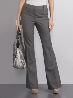 Beautiful Tahari Womens Grey Stretch Blend Sloane Straight Leg Pants