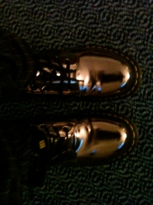 Tonight's Shoes-Metallic Docs from Melrose Street in L.A Side View