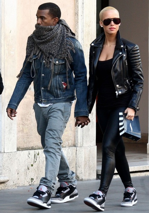 Kanye West and Amber Rose Rockin' the Black/Cement Jordan 3's (1/3)