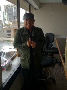 Morning Show DJ KC in Hawaii on 1-2-13. It's Cold In Hawaii. Photo Courtesy of Streetzblog.com