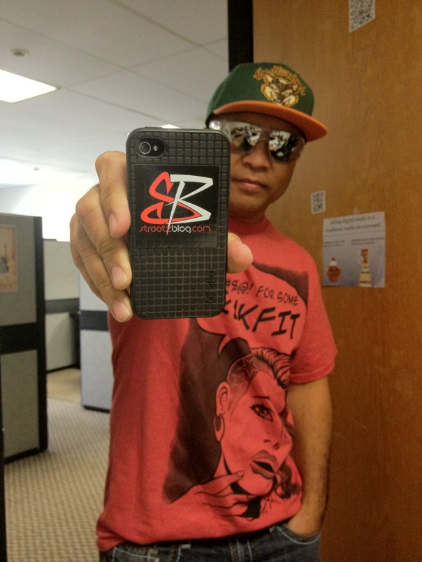Power 104.3's Morning DJ KC rockin' the new Streetzblog.com iPhone Sticker -12/15/12
