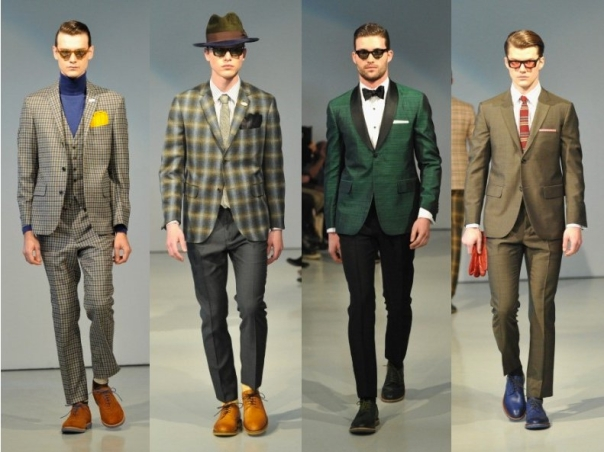 Suits, Green, & cropped Pants.  Photo courtesy of David Hart Men's 2013 Collection