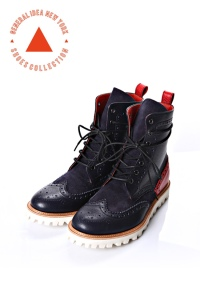 General Idea-Hi Top Brogue Boots-White Sole-Red Pull Tabs. The MOON's