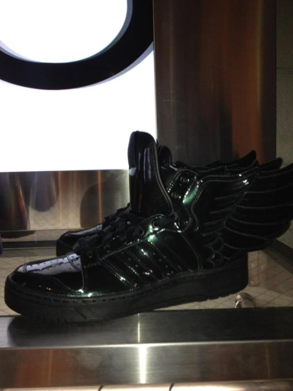 Adidas Jeremy Scott Black/Green Kicks at the Vanquish Store in Shibuya