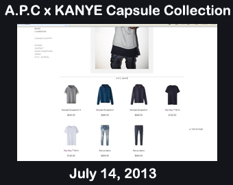 picture of the A.P.C x Kanye West capsule collection of clothes