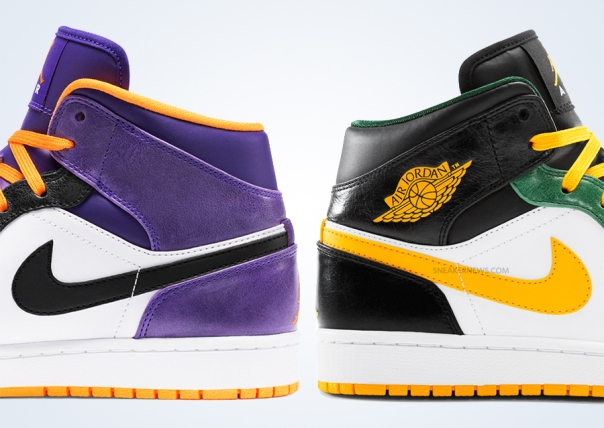 picture of Air Jordan ones in Phoenix Suns colors and Seattle Supersonics colors