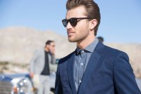 Blue Cotton on Blue Shirt with styling shades and 5pm Shadow. A nice look to copy.