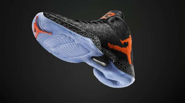 Jordan 29 Black Orange and Ice Blue sole-Nike