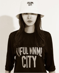 Liful MNML City Black Mesh Shirt with White lettering.