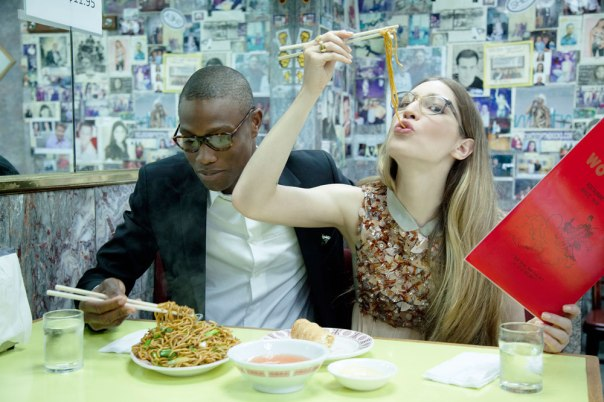 Warby Parker Man and Lady Eating Noodles