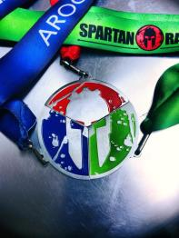 The Green, The Red and The blue form one big medal.