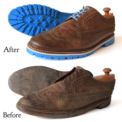 Before and After pictures of older shoes with bright new blue soles!