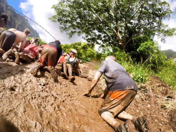 Spartans in the Mud! Me in the grey shirt and orange shorts.