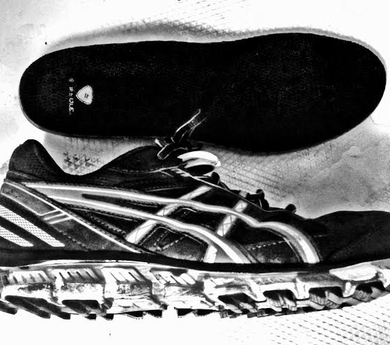 The Kicks I wore for the 2014 Spartan Race in Hawaii 2014. Asics-Black, Grey, Silver, with Camo outer Sole. And Sports Authority inner soles made for things like this, so they say.