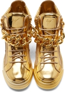 Giuseppe Zanotti Gold Mirrored Leather London High Tops