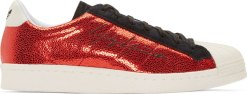 Yohji Yamamoto Red Adidas SuperStar Metallic Sneakers