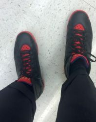 What I wore: Expertly Tailored and Cuffed Banana Republic black suit pants with Marvin the Martian Retro 7 Jordan's