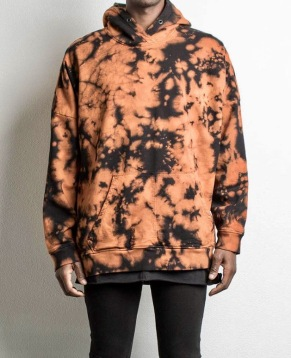 Black/Orange Acid Hoodie. Jay was wearing this when I was there as prototype. It is available now on line. and in stores.