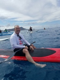 Me on my SUP Awaiting the Hokule'a to arrive